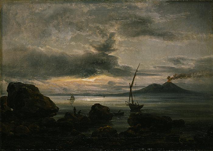 Bugten ved Napoli i måneskin og Vesuv i udbrud