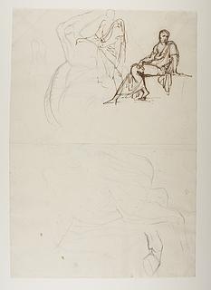 En siddende og en stående figur. Studier af hesteben