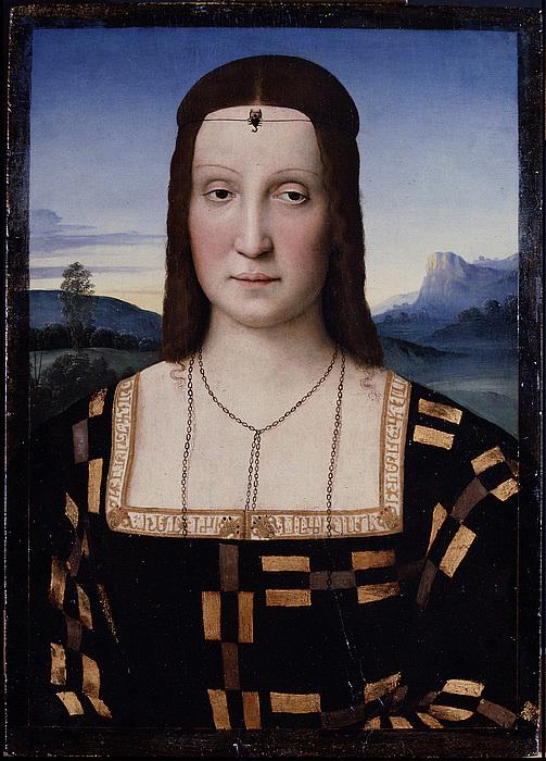 Attributed to Raphael (1483-1520): Portrait of Elisabetta Gonzaga of Urbino, c. 1504-05, 52×37,3 cm, Galleria degli Uffizi, Firenze