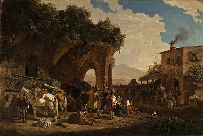 Romerske bønder foran et osteri