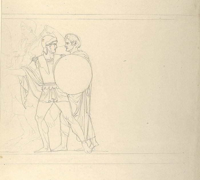 Thorvaldsen, en ung græsk kriger og en rytter
