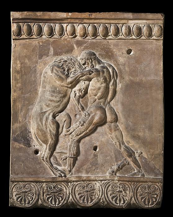 Campanarelief med Herkules i kamp med den nemeiske løve. Romersk