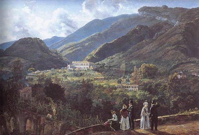 J.C. Dahl: Landskab med Quisisana og det kongelige selskab