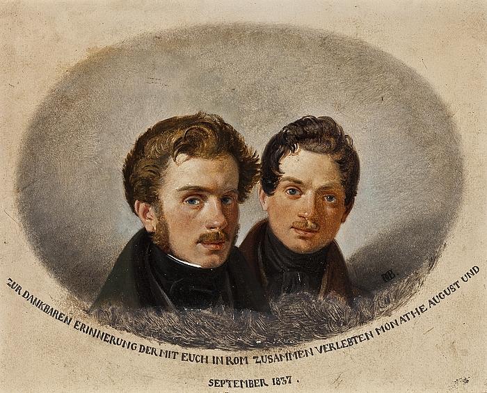 Portræt af to læger, Karl von Pfeuffer og Lorenz Melchior Geist