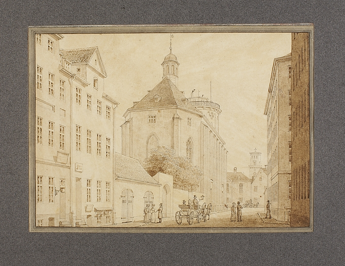 Trinitatis Kirke i København set fra Landemærket