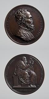 Medalje forside: Michelangelo. Medalje bagside: Profeten Zakarias