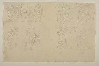 Psyche og Pan. Jupiters ørn og Psyche. Psyche og Cerberus. Venus og Psyche. Amor og Psyche