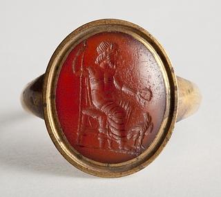 Zeus siddende med scepter og ørn. Hellenistisk-romersk ringsten