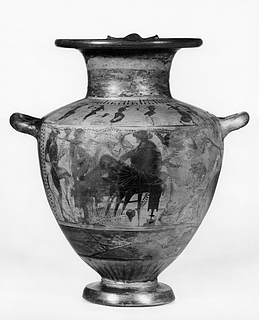 Hydria med Dionysos blandt silener og mænader (bug) og dansende silener og mænader (skulder). Græsk