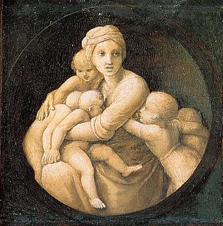 Raffaello Sanzio: Næstekærligheden, detalje fra predellastykke, 1507, (Public domain, Wikipedia Commons)