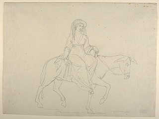 Kvinde ridende på et æsel