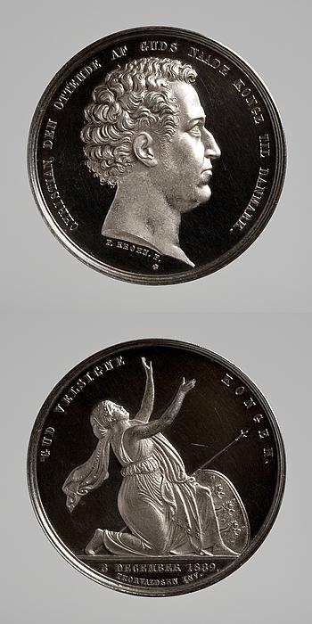 Medalje forside: Christian 8. Medalje bagside: Danmark