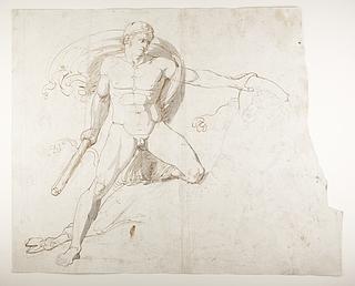 En hero (Theseus?) i kamp med Minotaurus. Charons båd