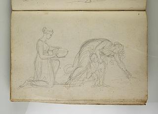 Knælende kvinde med en skål. En mor med sit barn sanker aks