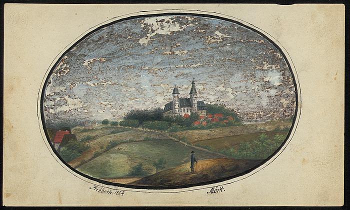 Nordeuropæisk landskab med slot