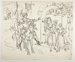 Don Quixote ankommer til værtshuset som han forestiller sig er et slot
