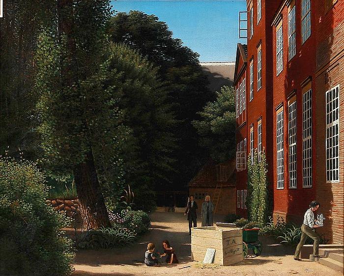 Antagelig Ferdinand Richardt: Botanisk Have med Thorvaldsen