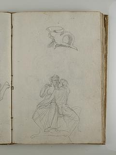 Siddende mand og kvinde. Antik drikkeskål