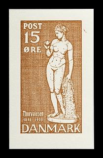 Prøvetryk af udkast til et dansk frimærke med Thorvaldsens Venus med æblet
