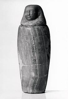 Kanopekrukke med menneskehovedlåg og hieroglyfindskrift. Ægyptisk, Sentiden