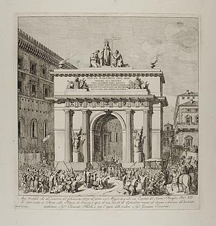 Arco trionfale che all'occasione del felicissimo ritorno nel giorno 24. Maggio 1814 alla sua Capitale del Sommo Pontifice Pio VII ( Pius 7.s triumferende indtog i Rom 24. maj 1814 )
