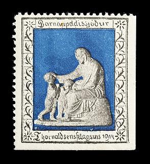 Islandsk julemærke med Thorvaldsens Kristus velsigner børnene