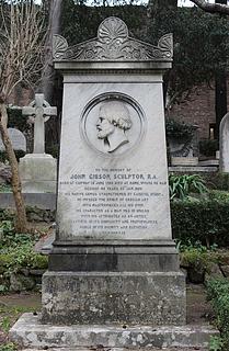 Gravmæle for John Gibson, Den protestantiske kirkegård, Rom