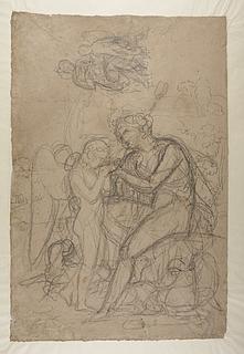 Bacchus giver Amor at drikke. Hygieia og Amor