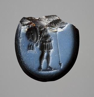 Ares, klædt som romersk soldat. Hellenistisk-romersk ringsten