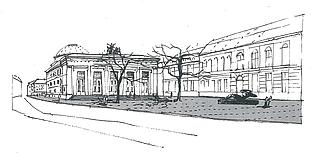 Skitse til Svend Wiig Hansens skulptur tegnet ind foran Thorvaldsens Museum