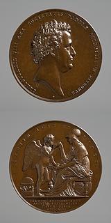 Medalje forside: Christian 8. Medalje bagside: Minerva og en genius