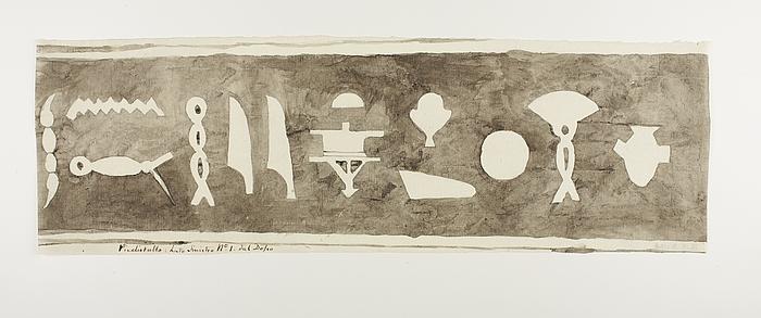Hieroglyfindskrift, første brudstykke fra bagsidens venstre side