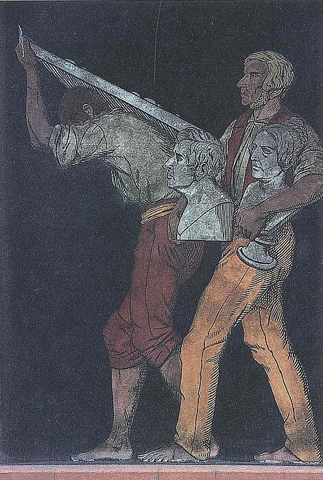 To arbejdere med et relief og busterne af Adam og Stampe