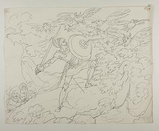 Don Quixote angriber en flok fugle