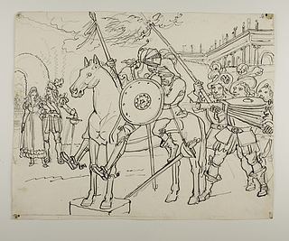 Don Quixote og Sancho Panza klar for flyvetur på træhesten Clavleño den Hurtige