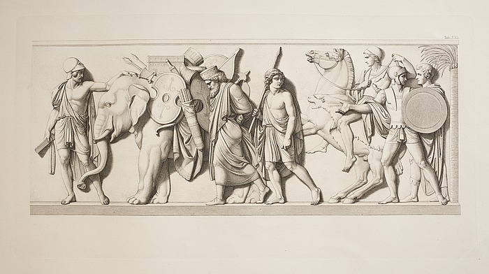Ung græsk kriger viser Thorvaldsen elefanten som passerer med persiske våben og det kosteligste skrin