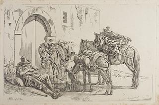Sovende romersk bonde med hest og æsler