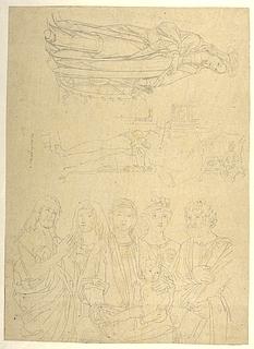 Sankt Katharina. Sankt Sebastian. Maria med barnet omgivet af helgener