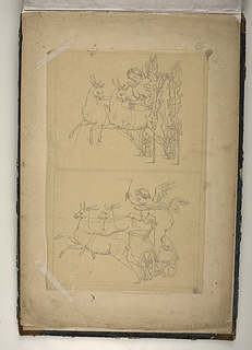 Putto på vogn trukket af to geder
