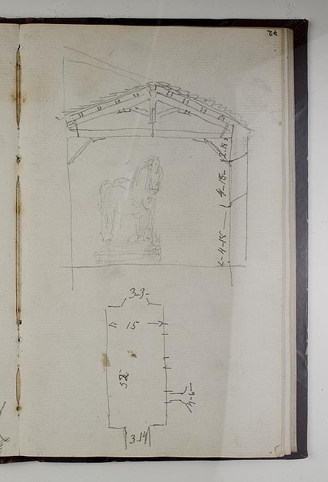Opmåling af Thorvaldsens store atelier i Rom, plan og snit