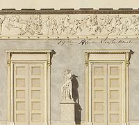 Interiør på Christiansborg med forslag til anbringelse af Thorvaldsens Alexanderfrise