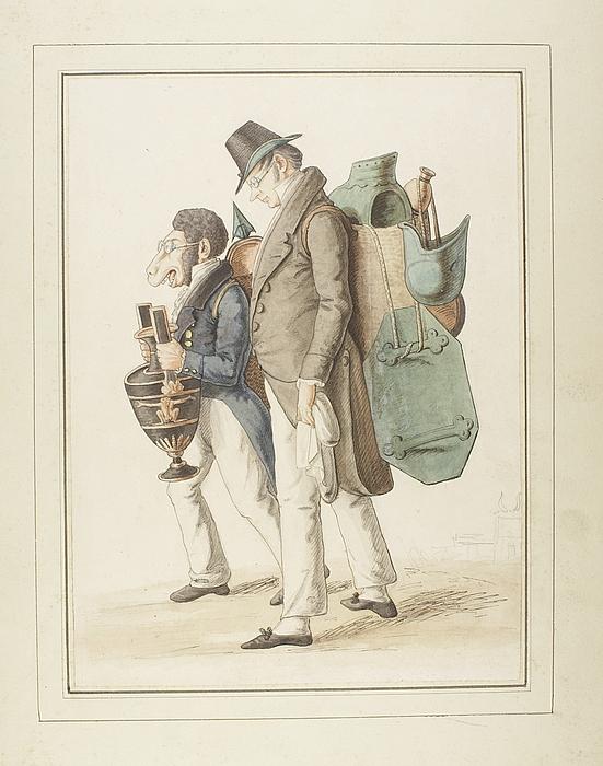 Karikatur af arkæologen Wilhelm Dorow og den svenske greve Gustav Palin(?)