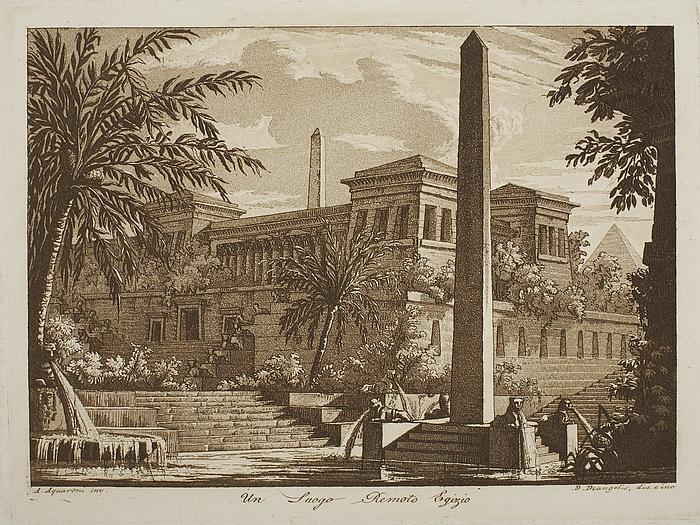 Un Luogo Remoto Egizio ( Sø omgivet af ægyptisk inspireret byggeri og monumenter )
