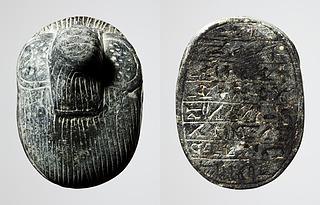 Skarabæ med menneskeligt hoved. Ægyptisk, Sentiden (?)