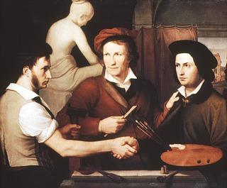 Wilhelm Schadow, Bertel Thorvaldsen og brødrene Schadow i Rudolf Schadows atelier 1815-16, Alte Nationalgallerie, Berlin