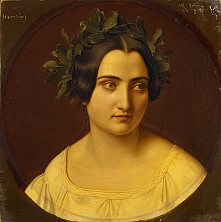 Carl Adolf Henning: Das Modell Fortunata Segatori aus Subiaco als Dichterin, mit einem Lorbeerkranz auf dem Kopf, 1833/35 - Copyright gehört Thorvaldsens Museum