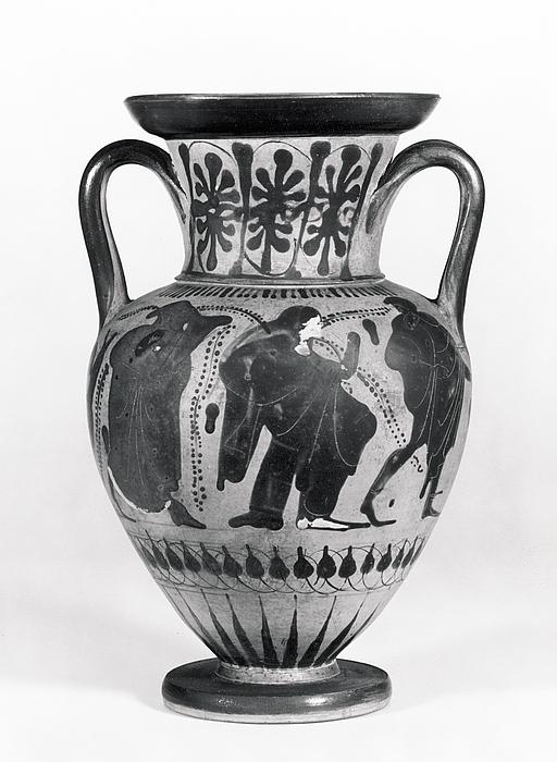 Amfora med Ariadne, Theseus og Dionysos (?) (A) og Ajax og Achilleus (B). Græsk