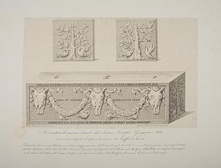 Arca antica di marmo donata dal Somma Pontefica Gregorio XVI ( Antik marmorsarkofag doneret af Gregor 16. til anbringelse af Rafaels skelet )