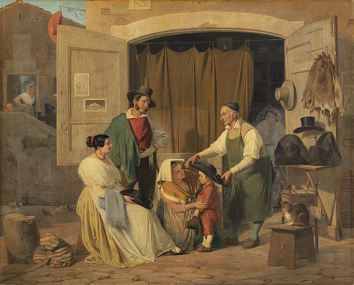 Et par romerske almuefolk køber en hat til deres lille søn som skal være abbate