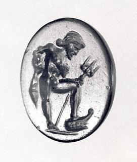 Poseidon med skibsstævn og trefork. Romersk republikansk ringsten